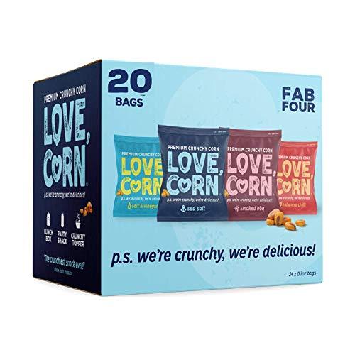 LOVE CORN: Variety Pack 5 x Sea Salt, 5 x BBQ, 5 x Habanero, 5 x Salt & Vinegar | Crunchy Corn - Plant Based & Vegan - Sugar-Free - Gluten-Free - Healthy Snack - Low Calorie - Non GMO
