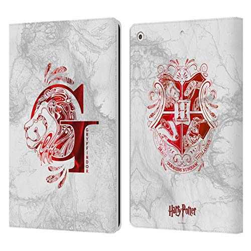Official Harry Potter Gryffindor Aguamenti Deathly Hallows IX Leather Book Wallet Case Cover Compatible For Apple iPad 10.2 (2019)/(2020)