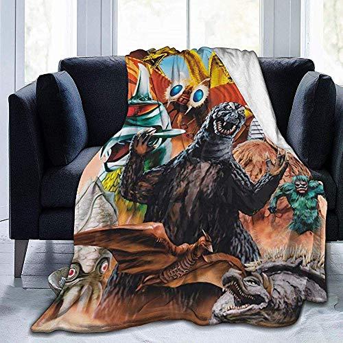 RJ Unique Adults Throw Blankets,Die Welt Gottes-Zi-Lla Alle Monster Charaktere Vintage Poster Ultraweiche Flanelldecke Für Erwachsene Eltern Ruhe 153x127cm