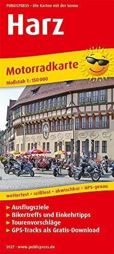 Harz: Motorradkarte mit Ausflugszielen, Einkehr- & Freizeittipps und Tourenvorschlägen, wetterfest, reissfest, abwischbar, GPS-genau. 1:150000 (Motorradkarte: MK)