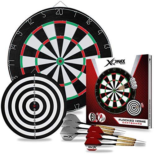 TW24 XQMAX Dartscheibe 2 Spielflächen inkl. 6 Dartpfeile Dartboard Set Steeldarts Dart Wurfspiel