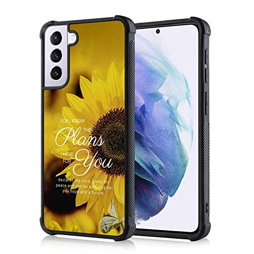 TEAUGHT Compatible with Samsung Galaxy S21 5G Case Jesus Bible Sunflower Christian Cover Slim Drop Protective Anti-Slip Shell Soft TPU Phone Case for Samsung Galaxy S21 5G 6.2 Inch (2021)