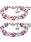 2 Pieces Granddaughter Bracelets Charm Heart Pendant Rhinestone Crystal Balls Faux Pearls Jewelry Gift (Pink, Purple)