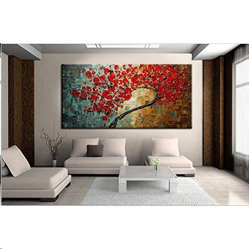 Gbwzz Astratta Fiore Rosso Albero Coltello Pittura a Olio su Tela Bella Immagine Wall Art Home Decor Bel Regalo, 90x180 cm
