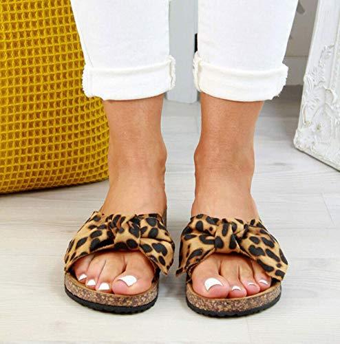 ZRSH Sandalias de cuña para Mujer Sandalias de Plataforma Plana con Lazo Peep Toe Zapatos de Mujer Plataforma Estampado de Leopardo Chanclas de Playa Sandalias,001,43EU