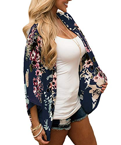 Cárdigan informal de gasa floral para mujer – Bikini de media manga, chal con protección solar, blusas de playa Azul azul marino S