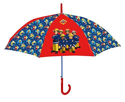 P:os 27207 - Stockschirm mit Feuerwehrmann Sam, windfester Regenschirm für Jungen und Mädchen mit manueller Öffnung, Durchmesser ca. 90 cm