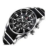 JIADUOBAO Marca Mens Relojes de lujo reloj de cuarzo de acero de silicona de moda hombres cronógrafo impermeable deporte reloj de pulsera
