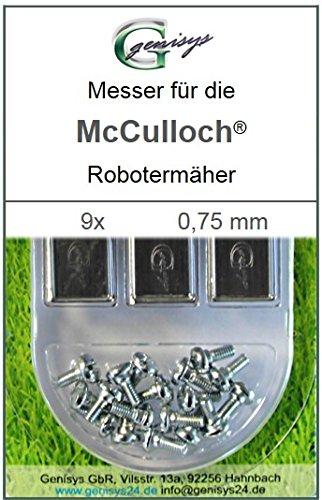 Genisys 9 Messer Ersatzmesser Ersatz-Klingen 0,75mm für McCulloch Rob R600 R1000 Mc Culloch