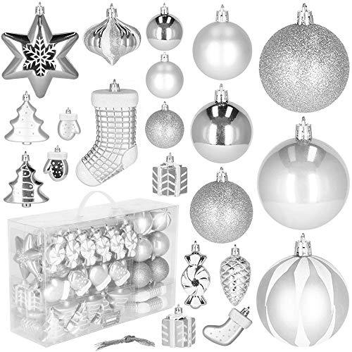 SPRINGOS Weihnachtskugeln 77 STK, bruchsicher, Baumschmuck, Weihnachten, Weihnachtsbaum-Arrangement, Stilvoll (Silber)