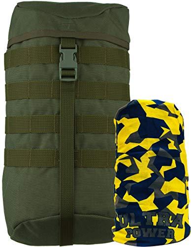 Wisport Backpack Zubehör | extra Seitentaschen abnehmbar | mehr Stauraum | praktische Zusatztaschen | 9 Liter | Cordura | Olive Green I+ UP Halstuch