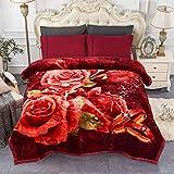 JML Heavy Fleece Blanket, Plush Velvet Korean Style Mink Blanket King Size 85'x95', Two Ply Reversible Raschel Blanket - Silky Soft Wrinkle and Fade Resistant Thick Bed Warm Blanket, Burgundy Rose