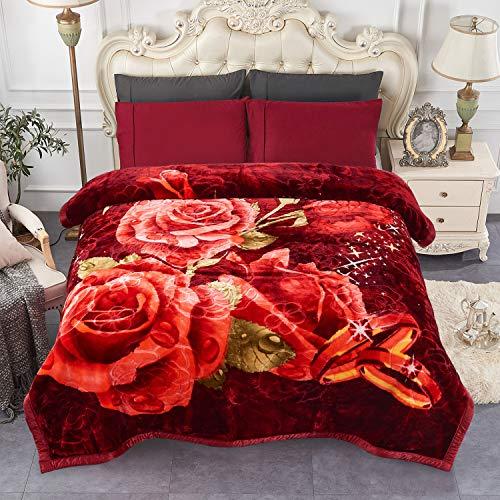"""JML Heavy Fleece Blanket, Plush Velvet Korean Style Mink Blanket King Size 85""""x95"""", Two Ply Reversible Raschel Blanket - Silky Soft Wrinkle and Fade Resistant Thick Bed Warm Blanket, Burgundy Rose"""
