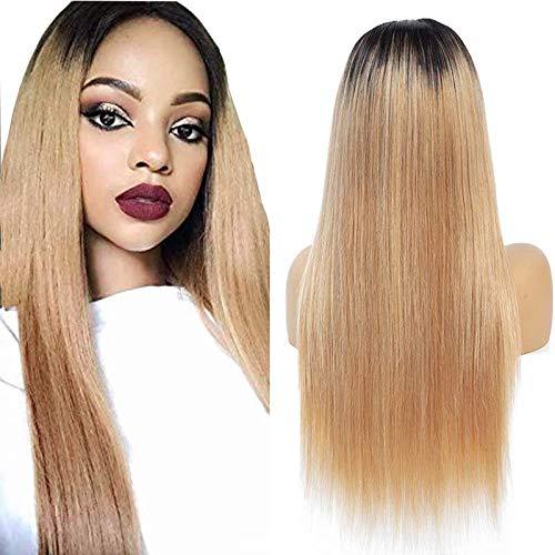 NIUDINNG 4X4 Lace Closure Wig 100% Human Hair Blond Hair Wig Ombre Echthaar Perücke Glatt Ombre Haare Farbe Schwarz bis Honigblond Sanft 18 zoll