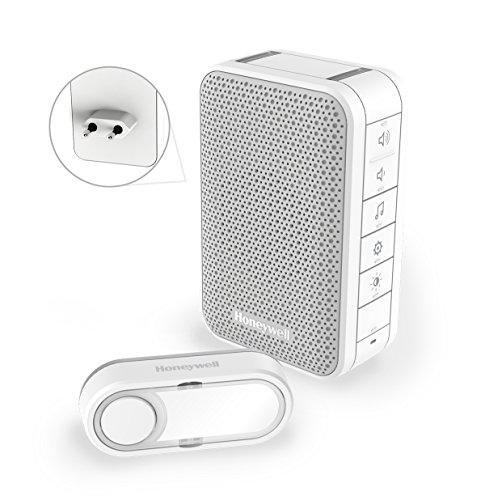 Honeywell Home DC313SP2 Serie 3, timbre sin hilo enchufable con LED y con pulsador (Blanco)