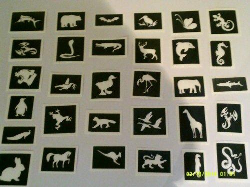 40 x animaux pochoirs à thème pour paillettes tatouages aérographe / / gâteaux / de nombreuses autres utilisations! cochon singe chat de cheval de lion suricate