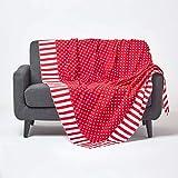 Homescapes Patchwork-Tagesdecke mit Polka-Dot-Muster, rot, Gepunkteter Bettüberwurf aus 100prozent Baumwolle, 150 x 200 cm, perfekt als Krabbeldecke, Babydecke
