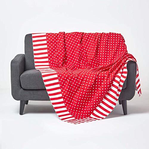 Homescapes Patchwork-Tagesdecke mit Polka-Dot-Muster, rot, Gepunkteter Bettüberwurf aus 100% Baumwolle, 150 x 200 cm, ideal als Krabbeldecke, Babydecke