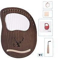 1個 16トーンマホガニーハープ ライアー 竪琴 金属弦 レトロなスタイル 初心者向け リラハープセット 耐久性のある ダークグリーン配達6〜9労働日まで