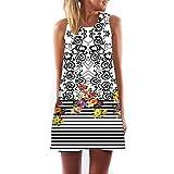 VEMOW Vintage Boho Frauen Sommerkleider Sleeveless Strand Gedruckt Kurzes Minikleid Eine Linie Abendkleid Täglich beiläufige Partei Weste T-Shirt Kleid Plus Size...