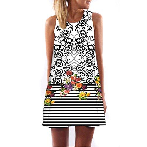 VEMOW Vintage Boho Frauen Sommerkleider Sleeveless Strand Gedruckt Kurzes Minikleid Eine Linie Abendkleid Täglich beiläufige Partei Weste T-Shirt Kleid Plus Size Rock(X1Weiß 6, 40 DE/S CN)