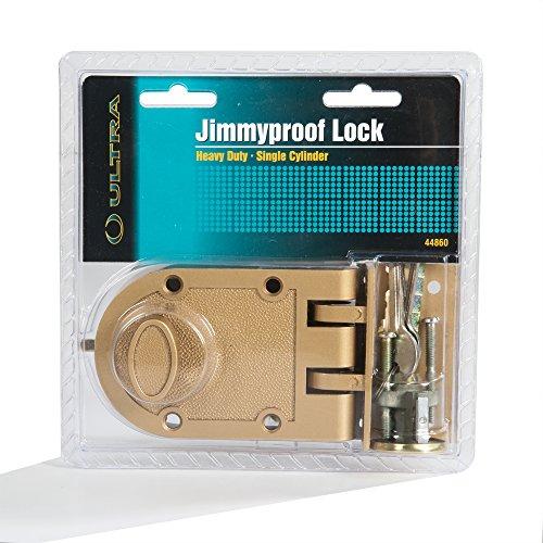 Heavy Duty Jimmy Proof Deadbolt Door Lock, Brass, Single Cylinder with...