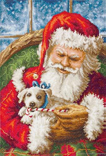 Père Noël et chiot Lucas Kit de point de croix Motif sur 16 ct Tissu Aida