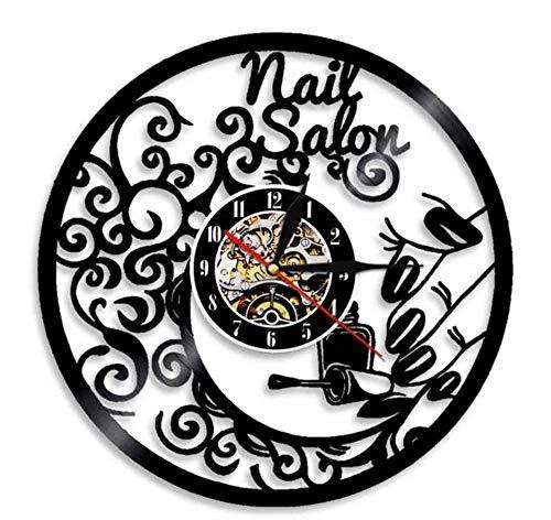 KFSG Salón de uñas, Arte de Pared, Bar, decoración de Pared, Reloj de Pared, salón de Belleza, diseño de Interiores, Reloj de Vinilo, Letrero de Pared de Negocios para salón