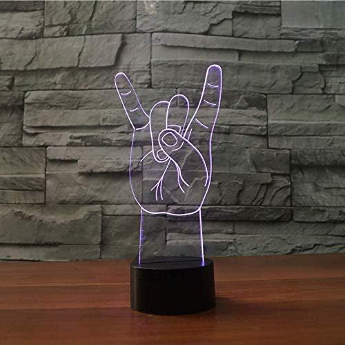 YOUPING 3D Metall Rock n Roll Gesten LED Nachtlicht Bunte Atmosphäre Tischlampe Liebhaber Weihnachtsgeschenke Schlafzimmer Schlaf Licht Dekor