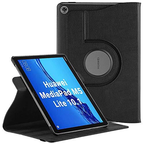 EasyAcc Hülle für Huawei Mediapad M5 Lite 10, 360 Grad Drehung Schutzhülle Flip Hülle Book Cover Lederhülle mit Standfunktion/Auto Sleep - PU Leder (Schawz - 360 Grad Drehung)