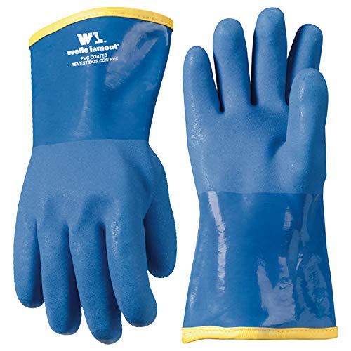 Wells Lamont Arbeitshandschuhe mit Winter Futter und Gauntlet Manschette, PVC-beschichtet, schwere Pflicht, blau, One size (194)