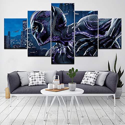 Druck 5 Panels Modular Black Panther Superheld Film Leinwand Malerei Poster Bild Moderne Wohnkultur Wandkunst Malerei Kunstwerk(NO Frame size)