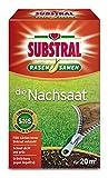 Substral Rasensamen Die Nachsaat, Nachsaatrasen, Rasensaat, Schnell keimende strapazierfähige Rasenreparatur-Mischung mit Grünfärbung gegen Vogelfraß, 400 g für 20 m²