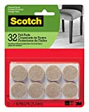 Scotch Felt Pads, Felt Furniture Pads for Protecting Hardwood Floors, Round, 1 Inch Diameter, Beige, 32 Pads