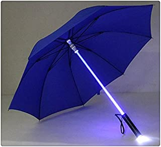 Lightsaber Umbrella 7 Colour Changing LED Light on The Shaft & Built in Torch in The Bottom Rain Umbrella (Blue)