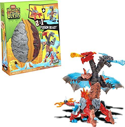Mega Construx Breakout Beasts Bestia de Fusión 2 en 1, Juguete con Slime Niños +5 Años (Mattel GGJ66) , color/modelo surtido