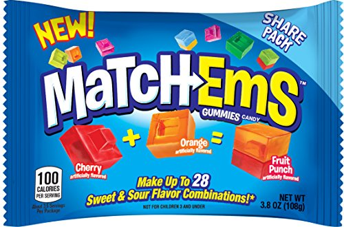 Match-Ems Gummies Candy From Bazooka, Mix, Gummy Share Pack Assorted Sour & Fruit Flavors, 3.8 Oz Halloween Bulk (Pack of 16)