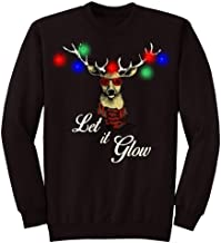 Men&Women Ugly Christmas Sweater Funny Sweatshirt Long Sleeve Shirt Tops Pullover-up Let It Glow