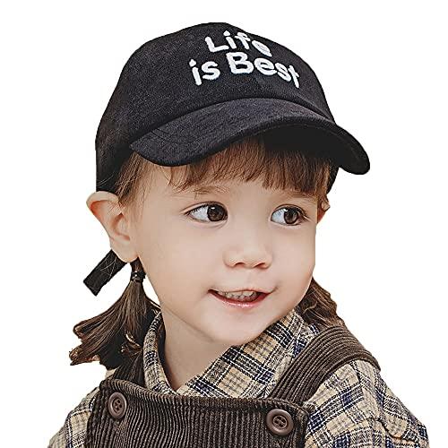 ZHANGYAN Gorra de béisbol de Visera Solar para niños, UPF 50+ Wide-Brimmed Sun Hat, Gorra de Pico, 1-3 años (Color : Black, Size : 44-48cm/17.3-18.8in)