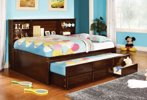 Furniture of America Lemoine Captain Full Bed with Twin Trundle and 3 Drawers, Cherry Finish