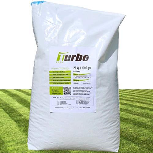 Turbogrün Langzeit Rasendünger Frühjahr 20kg mit 3 Monate Langzeit-Wirkung, Dünger gegen Moos, Ideal für Frühjahr und Sommer, geeignet für Streuwagen, staubarmes Granulat, Rasen dünger
