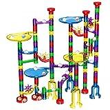 Glonova Kugelbahn, 127 Stück Mehrfarbige Murmelbahn Marble Run Set mit Glasmurmeln und Bahnelementen Lernspielzeug für Kinder