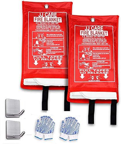 JJ Care Fire Blanket (2 Pack) Fire Fighting Fire Safety Kit Fiberglass Cloth (40