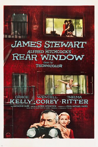 REAR WINDOW movie poster HITCHCOCK dir. james STEWART grace KELLY 24X36 (reproduction, not an original)