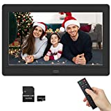Digital Picture Frame 1280x800 16:9 IPS Screen Photo Auto Rotate, Background Music, Support 1080P Videos, Auto On/Off Timer, Calendar, Alarm Clock, Include 32GB SD Card(7 Inch Black)