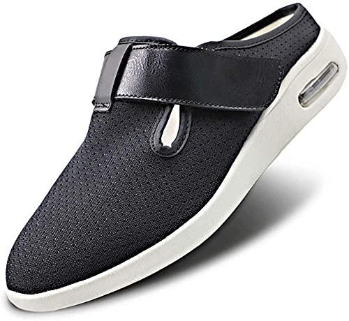 Zapatos para diabéticos para mujer,extra anchos,ligeros,con correa ajustable,fascitis plantar,zapatillas,ligeros,para caminar,de malla,transpirables,anchos,para caminar,negro,40.5