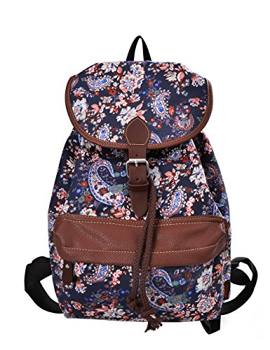 Douguyan Ragazze Zaino di Tela Borsa per la Scuola di Cuoio Casuale Borsa per Università Canvas School Bag Student Girls Donne Travel Backpack 14 Pollici Ladies Womens PC Cotone 164 Blu Rosa Fiore