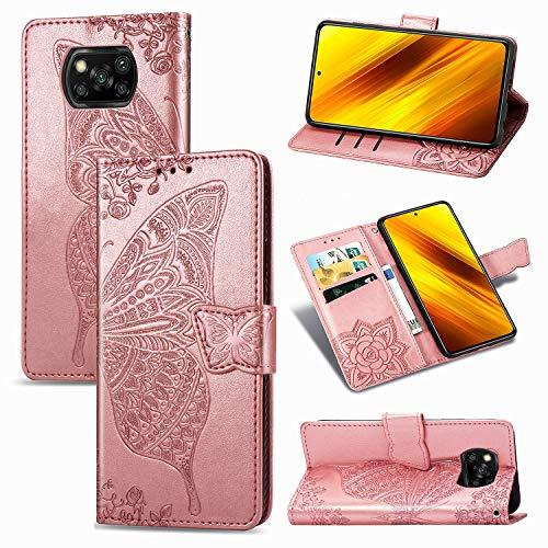 JIUNINE Funda para Xiaomi Poco X3 NFC / X3 Pro, Antigolpes Carcasa Libro con Tapa en Cuero Flip Case Cover con Dibujos de Mariposa, Cierre Magnético, Cartera para Xiaomi Poco X3 Pro, Oro Rosa