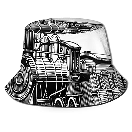 TGSCBN Unisex Fisherman Cap, rústico Old Trin Country Locomotive Wooden Wagons Rail Road con Smoke Travel Hat A1