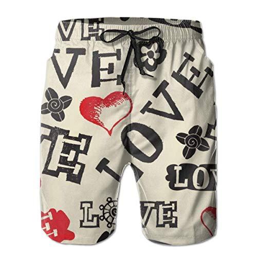 Pantalones Cortos de Playa Informales de Verano para Hombre con cordón y Cintura elástica (patrón de Labios de San Valentín Cupido Rojo Vino Negro), Talla M